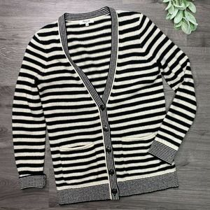 MADEWELL | sz S black and cream stripe BF cardigan